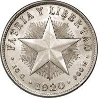 reverse of 40 Centavos (1915 - 1920) coin with KM# 14 from Cuba. Inscription: · PATRIA Y LIBERTAD · 10 G. · 1920 · 900 M