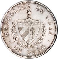 obverse of 1 Peso (1915 - 1934) coin with KM# 15 from Cuba. Inscription: REPUBLICA DE CUBA UN PESO