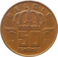 reverse of 50 Centimes - Baudouin I - Dutch text (1956 - 2001) coin with KM# 149 from Belgium. Inscription: BELGIE 19 50 99 CENTIMES