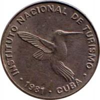 obverse of 10 Centavos - INTUR (1981) coin with KM# 414 from Cuba. Inscription: INSTITUTO NACIONAL DE TURISMO · 1981 · CUBA ·