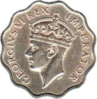 obverse of 1 Piastre - George VI (1938) coin with KM# 23 from Cyprus. Inscription: GEORGIVS VI REX IMPERATOR