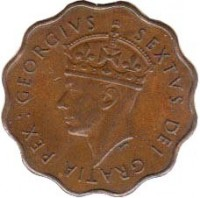 obverse of 1/2 Piastre - George VI (1949) coin with KM# 29 from Cyprus. Inscription: : GEORGIVS SEXTVS DEI GRATIA REX