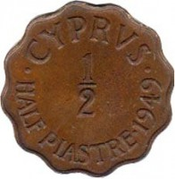 reverse of 1/2 Piastre - George VI (1949) coin with KM# 29 from Cyprus. Inscription: · CYPRVS · 1 - 2 HALF PIASTRE · 1949