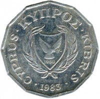 obverse of 1/2 Cent (1983) coin with KM# 52 from Cyprus. Inscription: CYPRUS · ΚΥΠPΟΣ · KIBRIS 1960 · 1983 ·