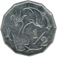reverse of 1/2 Cent (1983) coin with KM# 52 from Cyprus. Inscription: 1/2