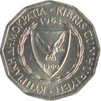 obverse of 1 Mil (1963 - 1972) coin with KM# 38 from Cyprus. Inscription: ΚΥΠΡΙΑΚΗ ΔΗΜΟΚΡΑΤΙΑ · KIBRIS CUMHURYETI 1963 1960