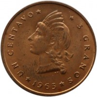 reverse of 1 Centavo - Restoration (1963) coin with KM# 25 from Dominican Republic. Inscription: UN CENTAVO 3 GRAMOS 1963