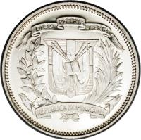 obverse of 25 Centavos (1937 - 1961) coin with KM# 20 from Dominican Republic.