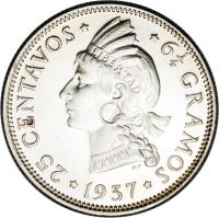 reverse of 25 Centavos (1937 - 1961) coin with KM# 20 from Dominican Republic.