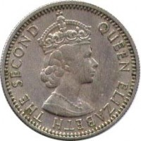 obverse of 6 Pence - Elizabeth II - 1'st Portrait (1953 - 1967) coin with KM# 19 from Fiji. Inscription: QUEEN ELIZABETH THE SECOND