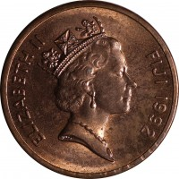 obverse of 1 Cent - Elizabeth II - 3'rd Portrait (1990 - 2006) coin with KM# 49a from Fiji. Inscription: ELIZABETH II FIJI 1992