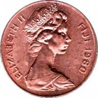 obverse of 1 Cent - Elizabeth II - FAO (1977 - 1982) coin with KM# 39 from Fiji. Inscription: ELIZABETH II FIJI 1980