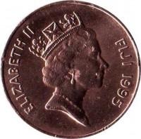 obverse of 2 Cents - Elizabeth II - 3'rd Portrait (1990 - 2005) coin with KM# 50a from Fiji. Inscription: ELIZABETH II FIJI 1995