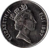obverse of 10 Cents - Elizabeth II - 3'rd Portrait (1990 - 2006) coin with KM# 52a from Fiji. Inscription: ELIZABETH II FIJI 1990