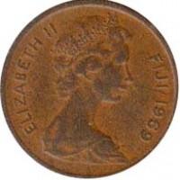 obverse of 1 Cent - Elizabeth II - 2'nd Portrait (1969 - 1985) coin with KM# 27 from Fiji. Inscription: ELIZABETH II FIJI 1969