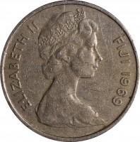 obverse of 5 Cents - Elizabeth II - 2'nd Portrait (1969 - 1984) coin with KM# 29 from Fiji. Inscription: ELIZABETH II FIJI 1969