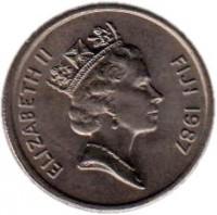 obverse of 5 Cents - Elizabeth II - 3'rd Portrait (1986 - 1987) coin with KM# 51 from Fiji. Inscription: ELIZABETH II FIJI 1987