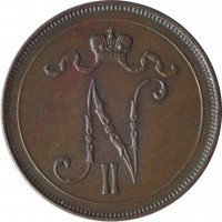 obverse of 10 Penniä - Nicholas II (1895 - 1917) coin with KM# 14 from Finland. Inscription: N II