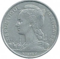 obverse of 5 Francs (1968 - 1975) coin with KM# 14 from French Afars and Issas. Inscription: REPUBLIQUE FRANCAISE 1975