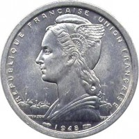 obverse of 2 Francs (1948) coin with KM# 7 from French Equatorial Africa. Inscription: REPUBLIQUE FRANCAISE UNION FRANCAISE 1948