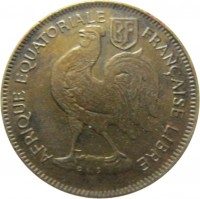 obverse of 50 Centimes (1942) coin with KM# 1 from French Equatorial Africa. Inscription: RF AFRIQUE EQUATORIALE FRANCAISE LIBRE