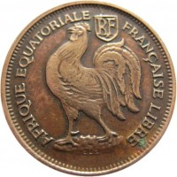 obverse of 50 Centimes (1943) coin with KM# 1a from French Equatorial Africa. Inscription: RF AFRIQUE EQUATORIALE FRANCAISE LIBRE