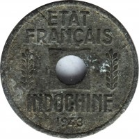 obverse of 1/4 Centime (1941 - 1944) coin with KM# 25 from French Indochina. Inscription: ETAT FRANÇAIS INDOCHINE 1943