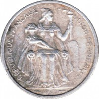 obverse of 1 Franc (1949) coin with KM# 2 from French Oceania. Inscription: REPUBLIQUE FRANCAISE UNION FRANCAISE