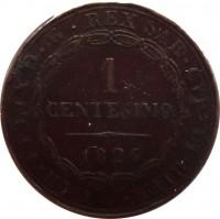 reverse of 1 Centesimo - Carlo Felice (1826) coin with KM# 125 from Italian States. Inscription: CAR · FELIX D · G · REX SAR · CYP · ET HIER · 1 CENTESIMO 1826
