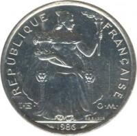 obverse of 5 Francs (1975 - 2014) coin with KM# 12 from French Polynesia. Inscription: REPUBLIQUE FRANÇAISE I · E · O · M · 2003 G.B.BAZOR