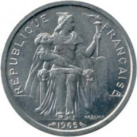 obverse of 2 Francs - Without IEOM (1965) coin with KM# 3 from French Polynesia. Inscription: REPUBLIQUE FRANCAISE 1965 G.B.BAZOR