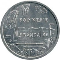 reverse of 2 Francs - Without IEOM (1965) coin with KM# 3 from French Polynesia. Inscription: POLYNESIE FRANCAISE