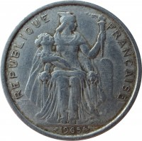 obverse of 5 Francs - Without IEOM (1965) coin with KM# 4 from French Polynesia. Inscription: REPUBLIQUE FRANÇAISE G.B.BAZOR 1965