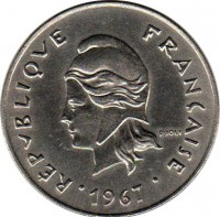 obverse of 50 Francs - Without IEOM (1967) coin with KM# 7 from French Polynesia. Inscription: RÉPUBLIQUE FRANÇAISE R. JOLY 1967