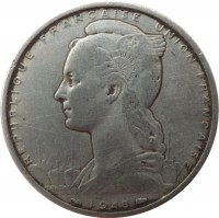 obverse of 5 Francs (1948) coin with KM# 6 from French Somaliland. Inscription: REPUBLIQUE FRANCAISE UNION FRANCAISE BAZOR 1948