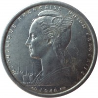 obverse of 2 Francs (1948 - 1955) coin with KM# 4 from French West Africa. Inscription: REPUBLIQUE FRANCAISE UNION FRANCAISE G.B.L. BAZOR 1948