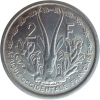 reverse of 2 Francs (1948 - 1955) coin with KM# 4 from French West Africa. Inscription: 2 F. AFRIQUE OCCIDENTALE FRANÇAISE