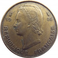 obverse of 10 Francs (1956) coin with KM# 6 from French West Africa. Inscription: 19 56 REPUBLIQUE FRANÇAISE G.B.L. BAZOR