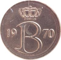 obverse of 25 Centimes - Baudouin I - Dutch text (1964 - 1975) coin with KM# 154 from Belgium. Inscription: 19 B 70 Mailleux