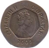 obverse of 20 Pence - Elizabeth II - 3'rd Portrait (2005 - 2011) coin with KM# 1083 from Gibraltar. Inscription: ELIZABETH II · GIBRALTAR 2005