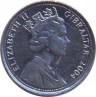 obverse of 10 Pence - Elizabeth II - Occupation - 3'rd Portrait (2004) coin with KM# 1047 from Gibraltar. Inscription: ELIZABETH II GIBRALTAR 2004