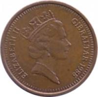 obverse of 1 Penny - Elizabeth II - 3'rd Portrait (1988 - 1995) coin with KM# 20 from Gibraltar. Inscription: ELIZABETH II GIBRALTAR · 1988