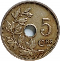 reverse of 5 Centimes - Leopold II - French text (1904 - 1907) coin with KM# 54 from Belgium. Inscription: 5 CES A. MICHAUX