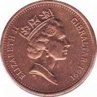 obverse of 2 Pence - Elizabeth II - 3'rd Portrait (1988 - 1995) coin with KM# 21 from Gibraltar. Inscription: ELIZABETH II GIBRALTAR · 1991