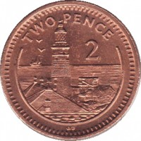 reverse of 2 Pence - Elizabeth II - 3'rd Portrait (1988 - 1995) coin with KM# 21 from Gibraltar. Inscription: TWO PENCE 2