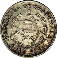 obverse of 10 Centavos (1925 - 1949) coin with KM# 239 from Guatemala. Inscription: .REPUBLICA DE GUATEMALA. 0.720 1938