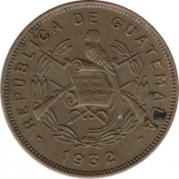 obverse of 2 Centavos (1932) coin with KM# 250 from Guatemala. Inscription: REPUBLICA DE GUATEMALA 1932