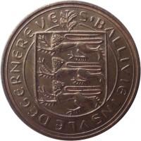 obverse of 8 Doubles - Elizabeth II (1956 - 1966) coin with KM# 16 from Guernsey. Inscription: S'BALLIVIE INSVLE DE GERNEREVE