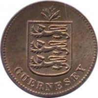 obverse of 1 Double - George V / George VI (1911 - 1938) coin with KM# 11 from Guernsey. Inscription: GUERNESEY