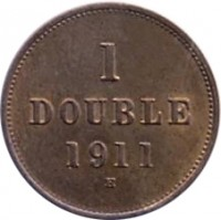 reverse of 1 Double - George V / George VI (1911 - 1938) coin with KM# 11 from Guernsey. Inscription: 1 DOUBLE 1911 H